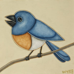 """""""I'm a Bluebird,"""" by Peter Wyse 8 x 8 - acrylic $540 (unframed panel with 1 1/2"""" edges)"""