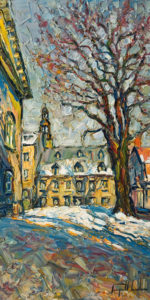 "SOLD ""Lumiere du matin, Place d'Arme, Vieux Quebec,"" by Raynald Leclerc 12 x 24 - oil $1950 Unframed"