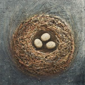 "SOLD ""Northern Nesting,"" by Brenda Walker 18 x 18 – encaustic and mixed media $850 (panel with 1 1/2"" edges)"
