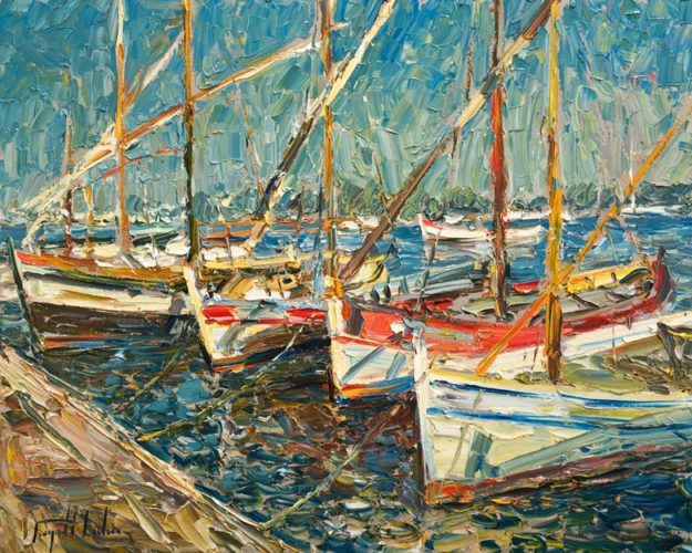 """Les Pointus Bandol, Provence,"" by Raynald Leclerc 24 x 30 - oil $3000 Unframed"