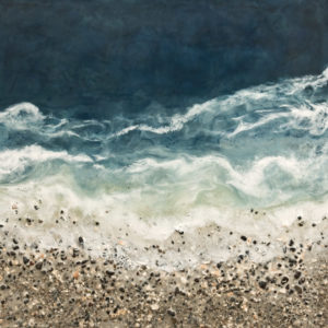 "SOLD ""West Coast No. 223,"" by Brenda Walker 36 x 36 - encaustic and mixed media $2600 (panel with 1 1/2"" edges)"