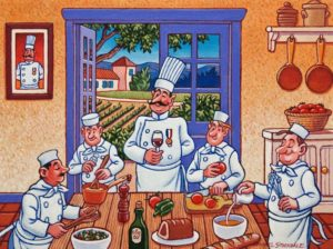 """Chef Maurice Cooking School - Teamwork,"" by Michael Stockdale 9 x 12 - acrylic $500 Unframed"