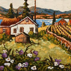 "SOLD ""A Day in May, Okanagan,"" by Rod Charlesworth 12 x 12 – oil $1200 Unframed"