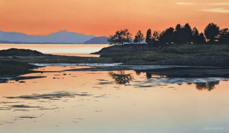"""""""Evening on the Estuary,"""" by Ron Parker 14 x 24 - oil $2200 Unframed"""