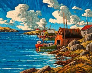 "SOLD ""June Skies, Nova Scotia,"" by Rod Charlesworth 24 x 30 – oil $2890 Unframed"