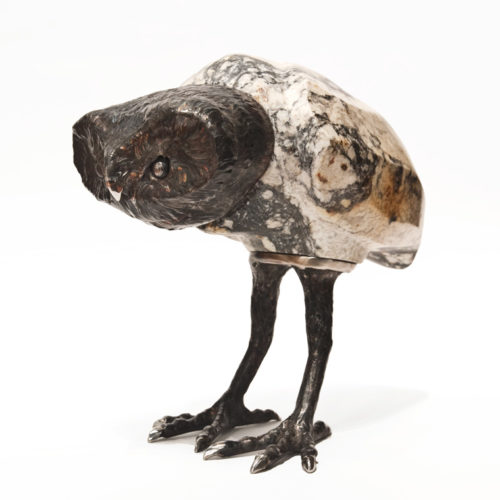 """""""Owlet,"""" by Tobias Luttmer 10"""" (H) x 10"""" (L) x 6"""" (W) - granite and stainless steel $3200"""