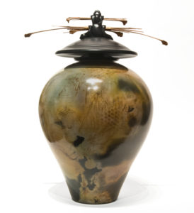 "Vase (219) by Geoff Searle pit-fired pottery - 14"" (H) x 10"" (W) $700"