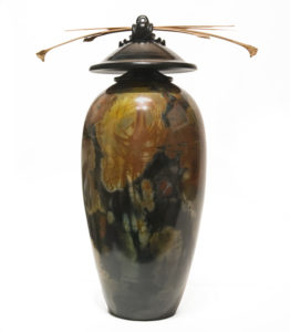 "Vase (221) by Geoff Searle pit-fired pottery - 13"" (H) x 9 1/2"" (W) $525"