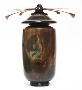 "Vase (222) by Geoff Searle pit-fired pottery - 10 1/2"" (H) x 9"" (W) $465"