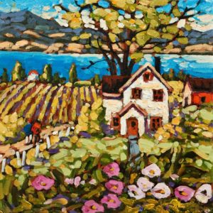 "SOLD ""Spring Vines, Okanagan,"" by Rod Charlesworth 10 x 10 – oil $830 Unframed"