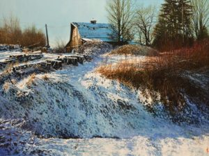 "SOLD ""Winter Blues,"" by Alan Wylie 30 x 40 - oil $12,750 Unframed"