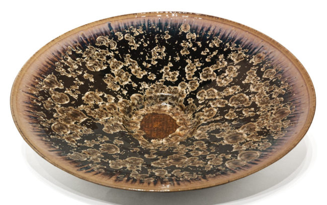 "Wall-hang plate (BB-4310) by Bill Boyd crystalline-glaze ceramic - 20 1/2"" (W) $950"