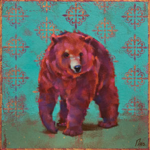"""The Bearoness,"" by Angie Rees 8 x 8 - acrylic $425 (unframed panel with 1 1/2"" edges)"