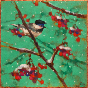 "SOLD ""Black Cap Chickadee,"" by Angie Rees 8 x 8 - acrylic $425 (unframed panel with 1 1/2"" edges)"