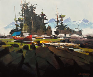 "SOLD ""Boat and Two Seastacks,"" by Michael O'Toole 20 x 24 – acrylic $1980 Unframed"