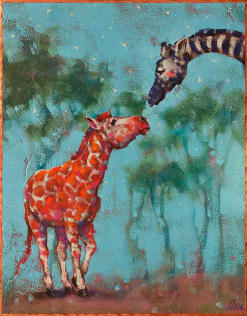 """Cross Dressers,"" by Angie Rees 11 x 14 - acrylic $950 (unframed panel with 1 1/2"" edges)"