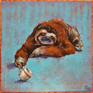 """De-caffeinated,"" by Angie Rees 8 x 8 - acrylic $425 (unframed panel with 1 1/2"" edges)"
