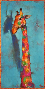 """High Fashion,"" by Angie Rees 6 x 12 - acrylic $450 (unframed panel with 1 1/2"" edges)"