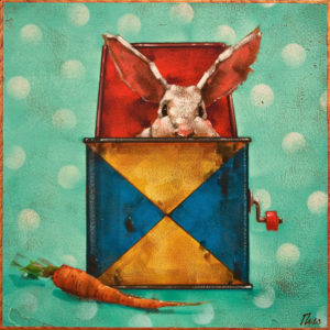 "SOLD ""Jack in the Box: The Carrot,"" by Angie Rees 10 x 10 - acrylic $675 (unframed panel with 1 1/2"" edges)"