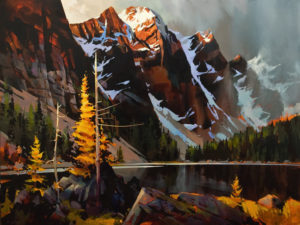 "SOLD ""Light Play, Moraine Lake,"" by Michael O'Toole 36 x 48 – acrylic $6420 Unframed"