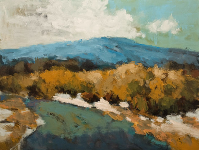 """Mont Orford au Printemps"" (Mount Orford in Spring) by Robert P. Roy 36 x 48 – acrylic $2950 Unframed"