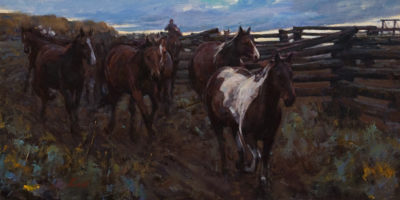 "SOLD ""Morning at Ranch,"" by Clement Kwan 12 x 24 - oil $3050 Unframed"