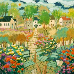 "SOLD ""The Musical Afternoon,"" by Claudette Castonguay 30 x 30 – acrylic $1880 Unframed"