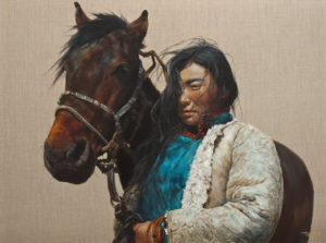"SOLD ""My Trusted Companion"" by Donna Zhang 36 x 48 – oil $9750 (thick linen wrap)"