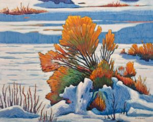 """Rabbit Brush in Snow,"" by Nicholas Bott 24 x 30 - oil $3860 Unframed"