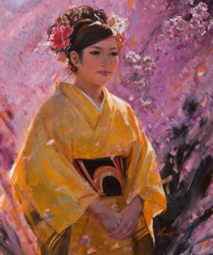 """""""Spring (Lady with Kimono),"""" by Clement Kwan 20 x 24 - oil $4500 Unframed"""