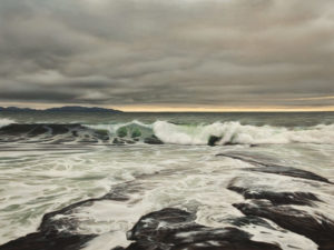 "SOLD ""Tidal Force,"" by Ray Ward 36 x 48 – oil $7150 (thick canvas wrap)"