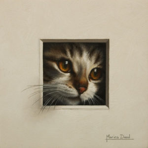 """Chat 16"" (Cat 16) by Marina Dieul 6 x 6 - oil USD $1400 Framed (approx CAD $1800 Framed)"