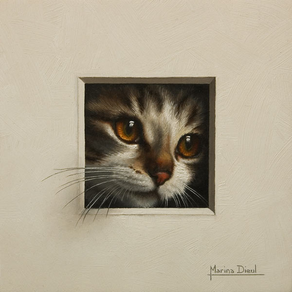 """""""Chat 16"""" (Cat 16) by Marina Dieul 6 x 6 - oil USD $1400 Framed (approx CAD $1800 Framed)"""