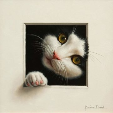 """SOLD """"Chat 19,"""" (Cat 19) by Marina Dieul 8 x 8 - oil USD $1900 Framed (approx CAD $2400 Framed)"""