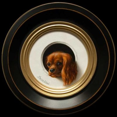 """""""Chiot"""" (Puppy) by Marina Dieul 4"""" diameter plus frame (shown) - oil USD $900 Framed (approx CAD $1150 Framed)"""