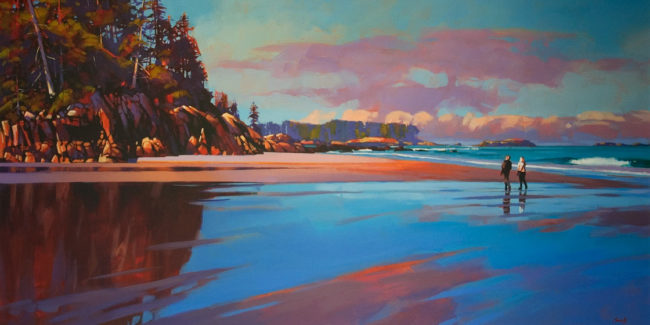 """Coastal Reflections (Calvert Island)"" by Mike Svob 30 x 60 - acrylic $10,325 Unframed"