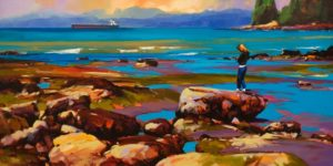 "SOLD ""A Distant Shore (Vancouver, B.C.)"" by Mike Svob 24 x 48 - acrylic $6665 (thick canvas wrap)"