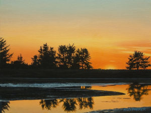 """Estuary Sundown,"" by Ron Parker 9 x 12 - oil $1350 Unframed"