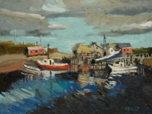 "SOLD ""Henry's Harbour,"" by Paul Healey 12 x 16 - oil $700 Unframed"