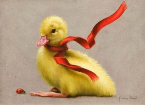 "SOLD ""Histoire de Caneton,"" (Tale of the Duckling) by Marina Dieul 6 x 8 - oil USD $1600 Framed (approx CAD $2070 Framed)"