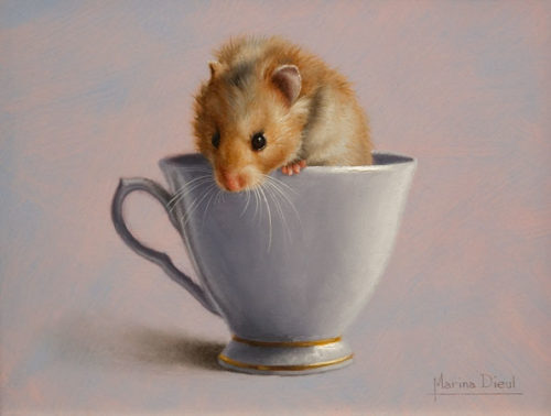 """Histoire de Hamster,"" (Tale of the Hamster) by Marina Dieul 6 x 8 - oil USD $1600 Framed (approx CAD $2070 Framed)"