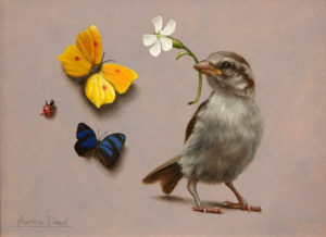 "SOLD ""Histoire de Moineau,"" (Tale of the Sparrow) by Marina Dieul 6 x 8 - oil USD $1600 Framed (approx CAD $2070 Framed)"
