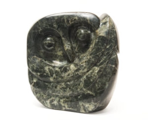 "SOLD ""Hooty Stare,"" by Marilyn Armitage 8"" (H) x 7"" (L) x 5"" (W) – Soapstone $750"