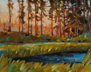 """Lakeside Sun Up"" by Graeme Shaw 11 x 14 – oil $700 Unframed"