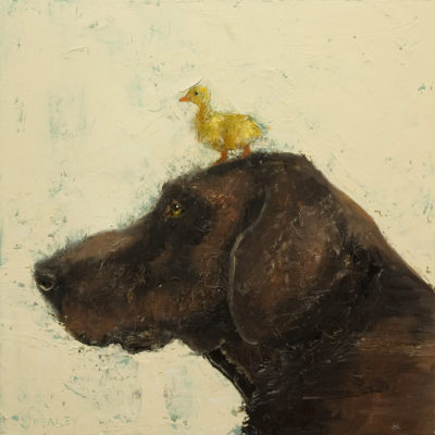 """SOLD """"Pals,"""" by Paul Healey 16 x 16 - oil $825 Unframed"""