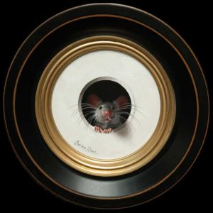 "SOLD ""Petite Souris 293,"" (Little Mouse 293) by Marina Dieul 4"" diameter plus frame (shown) - oil USD $900 Framed (approx CAD $1150 Framed)"