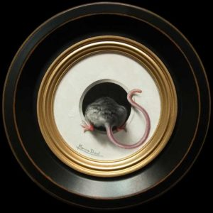 "SOLD ""Petit Souris 294"" (Little Mouse 294) by Marina Dieul 4"" diameter plus frame (shown) - oil USD $900 Framed (approx CAD $1150 Framed)"