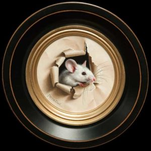 "SOLD ""Petite Souris 296,"" (Little Mouse 296) by Marina Dieul 4"" diameter plus frame (shown) - oil USD $900 Framed (approx CAD $1150 Framed)"