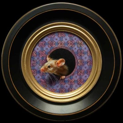 """Petit Souris 298"" (Little Mouse 298) by Marina Dieul 4"" diameter plus frame (shown) - oil USD $900 Framed (approx CAD $1150 Framed)"