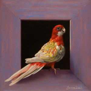 "SOLD ""Rosella,"" by Marina Dieul 8 x 8 - oil USD $1900 Framed (approx CAD $2400 Framed)"